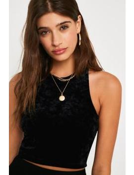 Uo Black Velvet Crop Cami by Urban Outfitters
