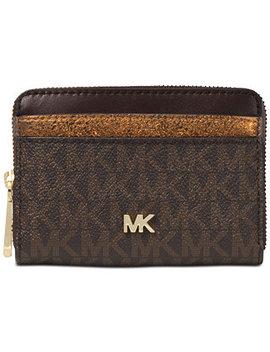 Signature Metallic Zip Around Card Case by Michael Michael Kors