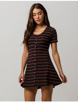 Sky And Sparrow Stripe Button Front Fit N Flare Dress by Sky And Sparrow