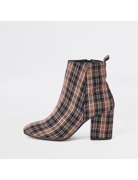 Beige Check Print Square Toe Block Heel Boots by River Island