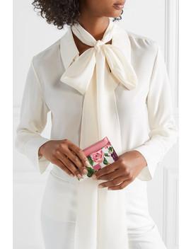 Kartenetui Aus Strukturiertem Leder Mit Blumenprint by Dolce & Gabbana