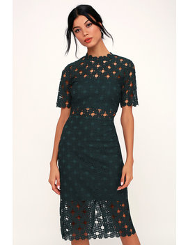 Heartfelt Dark Teal Green Lace Bodycon Midi Dress by Lulus