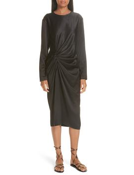 Ruched Crinkle Satin Dress by Helmut Lang