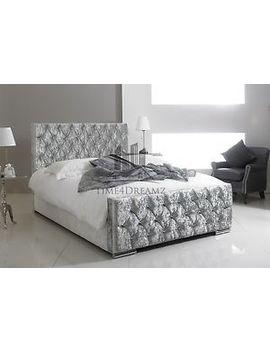 !!!Diamond Crushed Velvet Upholstered Bed Frame 3ft 4ft6 Double 5ft King Size by Ebay Seller