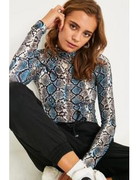 Uo Snakeskin Second Skin Funnel Neck Top by Urban Outfitters