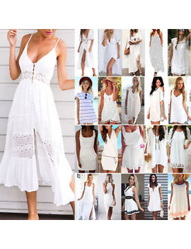 Women White Dress Boho Holiday Mini Long Dress Evening Party Beach Sundress Uk by Ebay Seller