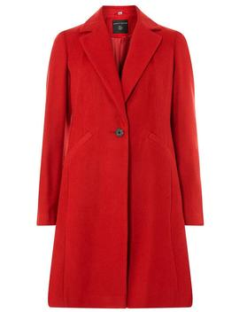 Red Single Breasted Coat by Dorothy Perkins