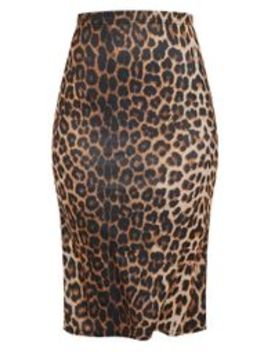 Leopard Print Soft Touch Midi Skirt by Prettylittlething