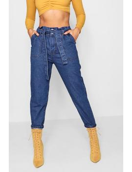 Paperbag Waist Mom Jeans by Boohoo