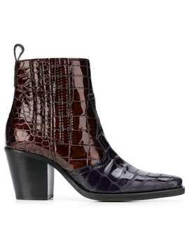 Gannifaux Croc Ankle Bootshome Women Ganni Shoes Boots by Ganni