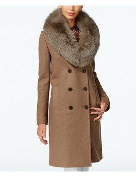 Fox Fur Trim Double Breasted Walker Coat by Elie Tahari
