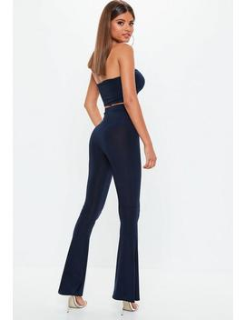 Navy Slinky Flare Trousers by Missguided