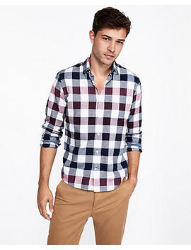 Slim Plaid Soft Wash Button Down Shirt by Express