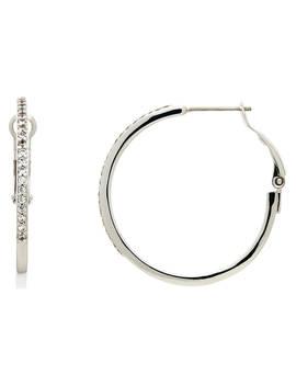 Melissa Odabash Medium Rhodium Plated Hoop Earrings, Silver by Melissa Odabash