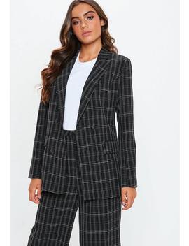Black Check Longline Boyfriend Blazer Jacket by Missguided