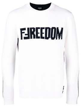 Fendi Double F Logo Sweaterhome Men Fendi Clothing Knitted Sweaters Modernist Plaid Shirtelasticated Trousers Frog Neoprene Sneakers Double F Logo Sweater by Fendi