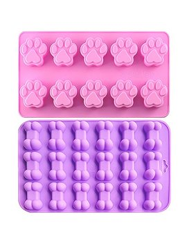 Ihuixinhe Food Grade Silicone Mold, Non Stick Ice Cube Mold, Jelly, Biscuits, Chocolate, Candy, Cupcake Baking Mould, Muffin Pan (Puppy Paw & Bone 2 Pcs) by Ihuixinhe
