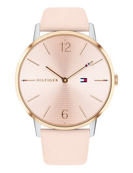 Women's Pink Leather Strap Watch 40mm, Created For Macy's by Tommy Hilfiger
