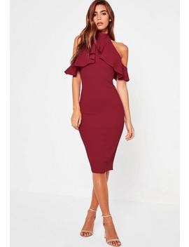 Burgundy Frill Cold Shoulder Midi Dress by Missguided