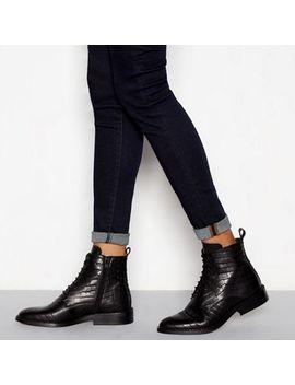 J By Jasper Conran   Black Leather Croc Effect Lace Up Boots by J By Jasper Conran