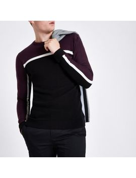 Burgundy Slim Fit Colour Block Stripe Jumper by River Island
