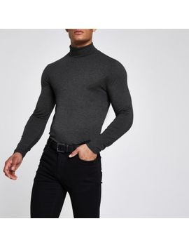 Grey Roll Neck Muscle Fit Top by River Island