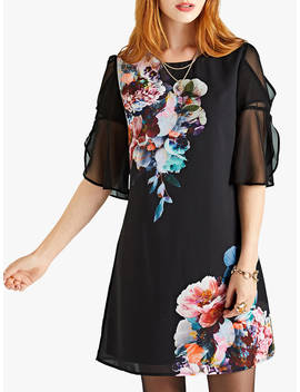 Yumi Flute Sleeve Tunic Dress, Black by Yumi