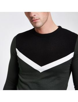 Green Contrast Crew Neck Jumper by River Island
