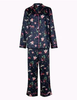 Satin Safari Print Long Sleeve Pyjama Set by Marks & Spencer