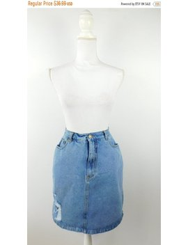 35 Percents Off Fall Sale Vintage Newport News Jeanology Light Blue Ripped High Waisted Knee Length Minimal Denim Jean Pencil Skirt Sz 12 Large by Etsy