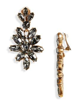 Navette Crystal Earrings by Oscar De La Renta