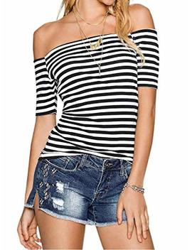 Adreamly Womens Sexy Off The Shoulder Striped Shirt Blouse Tops by Adreamly
