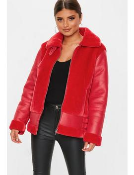 Red Faux Fur Ultimate Aviator by Missguided