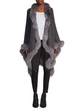 Kamala Oversize Fox Fur Trimmed Poncho by Alice + Olivia