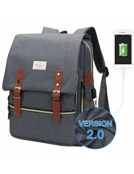 Modoker Vintage Laptop Backpack For Women Men,School College Backpack With Usb Charging Port Fashion Backpack Fits 15 Inch Notebook (Grey Function Update) by Modoker
