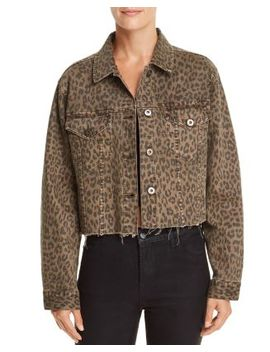 Naya Leopard Print Cropped Denim Jacket by Pistola