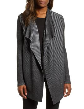Contrast Ribbed Waterfall Cotton Cardigan by Chaus