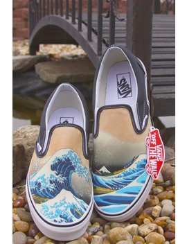 Custom Vans Brand Great Wave Shoes by Etsy