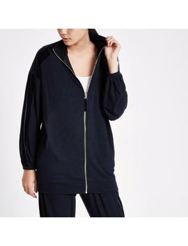 Navy Over Sized Zip Through Lounge Jacket by River Island