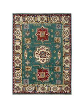Handmade Herat Oriental Indo Tribal Kazak Wool Rug by Herat Oriental