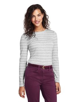 Women's Petite Long Sleeve Shaped Crew by Lands' End
