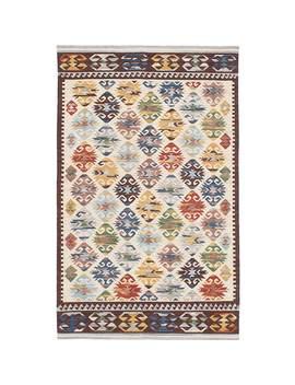 Ecarpetgallery Antalya Ivory Wool Kilim Rug by Ecarpetgallery