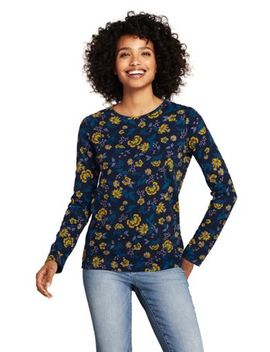 Women's Petite Print Long Sleeve Relaxed Supima Cotton Crew Neck T Shirt by Lands' End