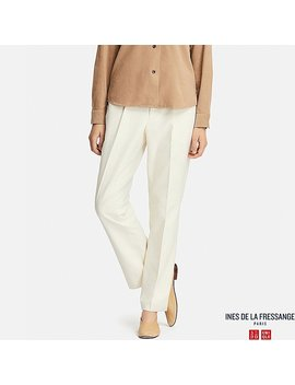 Women Ines Cotton Straight Trousers by Uniqlo