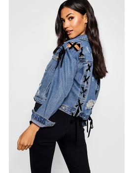 Lucy Lace Up Detail Crop Denim Jacket by Boohoo