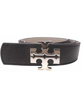 "Tory Burch Women's 1 1/2"" Genuine Leather Square Logo Buckle Belt Black French Grey Small by Tory Burch"