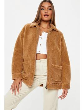 Petite Tan Oversized Borg Zip Through Teddy Jacket by Missguided