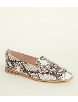 Black Faux Snakeskin Loafers by New Look