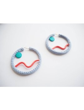 Pale Blue Knitted Hoop Earrings With Blue And Red Shape Detail Graphic/80s/Retro Inspired by Etsy