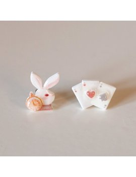 White Rabbit & Play Cards Stud Earrings   Alice In Wonderland / Kawaii Earrings / Alice Earrings / Alice Jewelry by Etsy